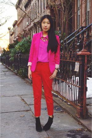 red H&amp;M pants - black PacSun boots - hot pink romwe blazer