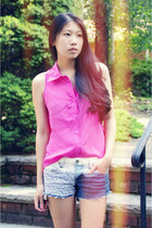 hot pink OASAP top - blue DIY shorts
