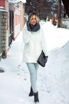 light blue H&M jeans - white Zara coat - heather gray Mango bag