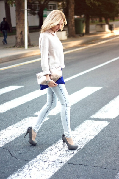 heather gray River Island flats - off white H&amp;M sweater - blue pull&amp;bear bag