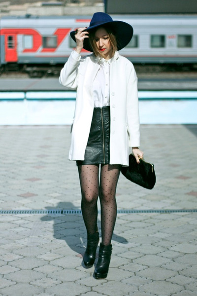 black Zara boots - white Zara coat - blue Zara hat - black Topshop bag