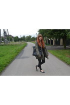 olive green New Yorker coat - black H&M leggings - black Bianca bag