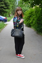black H&M bag - blue desigual jacket - red Converse sneakers