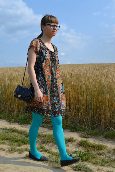black Tally Weijl bag - tawny Chantall dress - sky blue Bepon tights