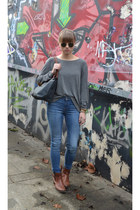 gray longchamp bag - brown Fraiche boots - blue Zara jeans