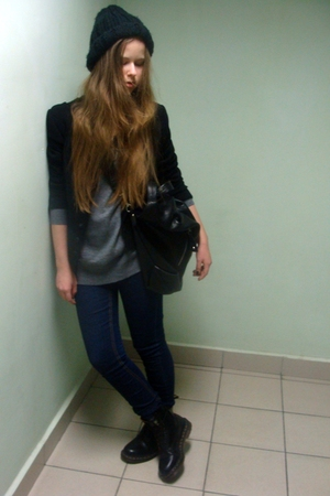 black Zara hat - black dior jacket - gray Mango sweater - Topshop jeans - black