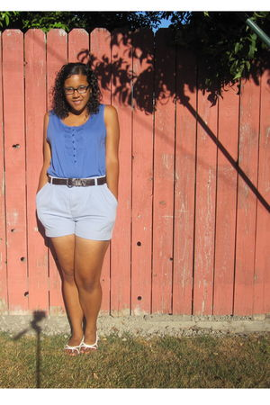 blue merona blouse - blue Dockers shorts - brown belt - white shoes