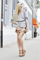 tan Zara dress - silver H&M shirt - brown Zara belt - bronze Just Anna Shoes hee