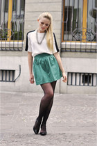 white Zara shirt - silver Claires necklace - turquoise blue Zara skirt - black M