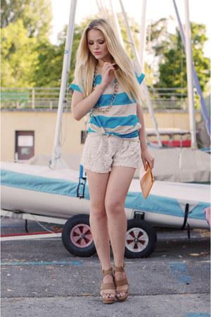 Just Anna Shoes heels - Zara shirt - Louis Vuitton bag - Zara shorts