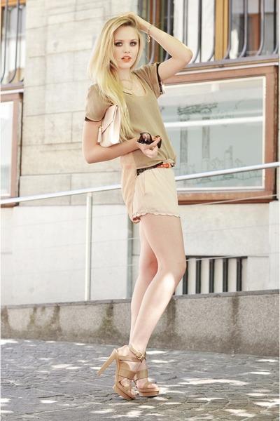 neutral Isabel Lu shorts - beige Isabel Lu shirt - light pink H&M bag