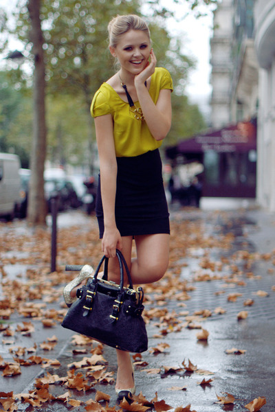 Zara shirt - Louis Vuitton bag - H&M skirt - Miu Miu heels