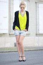 H&M blazer - Zara shirt - Zara shorts - MORGAN heels - vintage accessories