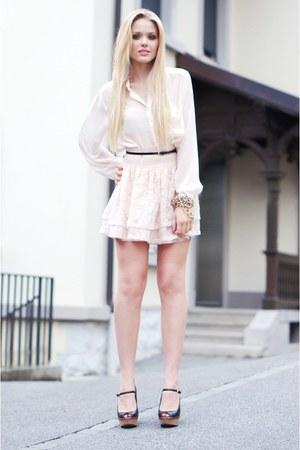 light pink H&M skirt - black Zara wedges - light pink H&M blouse - black H&M bel