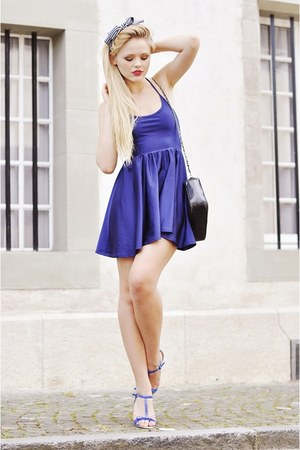 blue American Apparel dress - black Chanel bag - blue Zara heels - white H&M acc