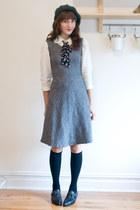 vintage scarf - vintage dress - H&M hat - vintage blouse - vintage clogs