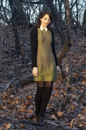 last chance dress - thrifted blouse - H&amp;M stockings - Zara cardigan