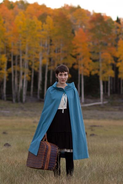 sky blue vintage cape - black vintage dress