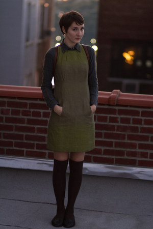 olive green thrifted dress - dark brown asos socks - navy thrifted blouse