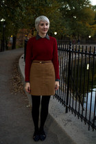 navy vintage shoes - brick red Zara sweater - camel Vinatge skirt