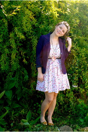 light pink light cotton thrifted dress - deep purple unknown brand blazer - gold