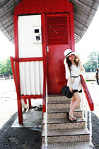 white dress - black dress - eggshell hat - gray bag - brown belt