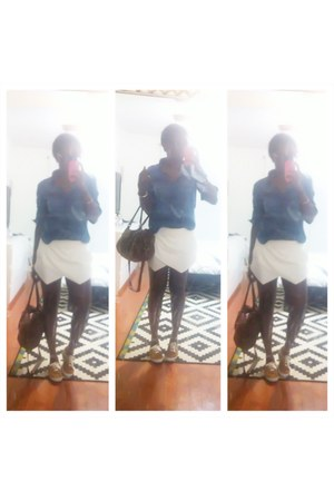 white zara skirt Zara shorts - navy chambray shirt H&M shirt