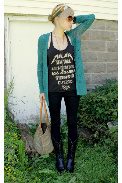 black vintage Laredo boots - teal knitted Lauren Conrad sweater - thrifted silk