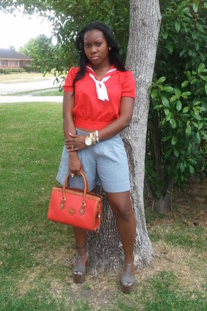Dooney & Bourke purse - Urban Outfitters shorts - thrifted blouse - Jessica Simp