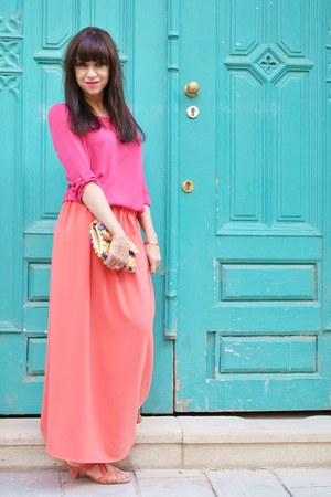 straw Parfois bag - coral maxi skirt handmade skirt - coral leather elle sandals