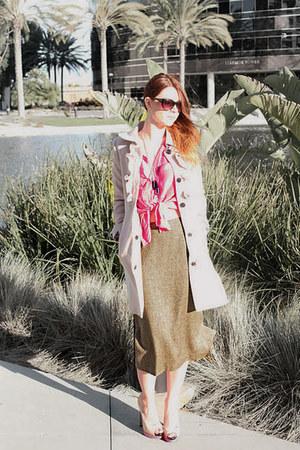 heather gray tweed calvin klein skirt - eggshell H&M coat