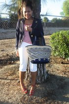 navy Forever 21 blazer - white Arizona jeans - navy unknown brand purse