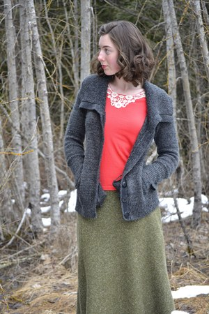 green tweed thrifted skirt - charcoal Ruche cardigan