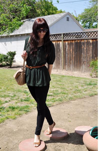 brown shoes - brown vintage belt - green Gap blouse - beige thrifted purse - bla