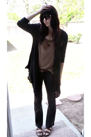 black volcom cardigan - brown Gap shirt - brown thrifted belt - black Levis jean