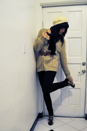 white Saks Fifth avenue hat - brown thrifted cardigan - black American Apparel p