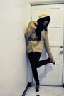 White-saks-fifth-avenue-hat-brown-thrifted-cardigan-black-american-apparel-p