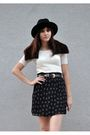 Black-vintage-hat-white-thrifted-blouse-black-thrifted-skirt-black-gap-soc