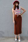 Red-thrifted-hat-white-vintage-shirt-brown-vintage-skirt-white-vintage-sho