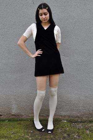 black vintage dress - white vintage blouse - white socks - black Arturo Chiang s