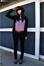 Red-vintage-hat-purple-t-shirt-red-thrifted-belt-bdg-jeans-purple-socks-