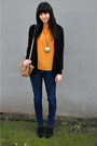 Gold-vintage-blouse-black-bdg-cardigan-blue-jeans-black-arturo-chiang-shoe