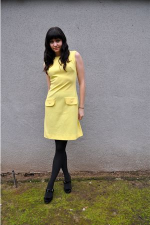 yellow vintage dress - black Via Spiga shoes - black Target tights
