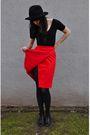 Red-vintage-skirt-black-american-apparel-black-tights-black-vintage-enzo-a