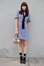 Blue-thrifted-dress-black-h-m-necklace-black-urban-outfitters-socks-brown-