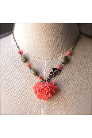 red Kellyssima dress - green Kellyssima necklace - orange Kellyssima necklace