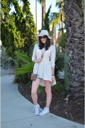 eggshell panama hat Forever 21 hat - ivory smock H&M dress