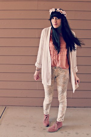 light pink collared Secondhand blouse - light pink suede Target boots