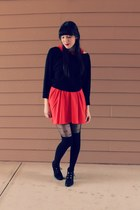 black cropped beaded thrifted sweater - red cotton collared asos dress