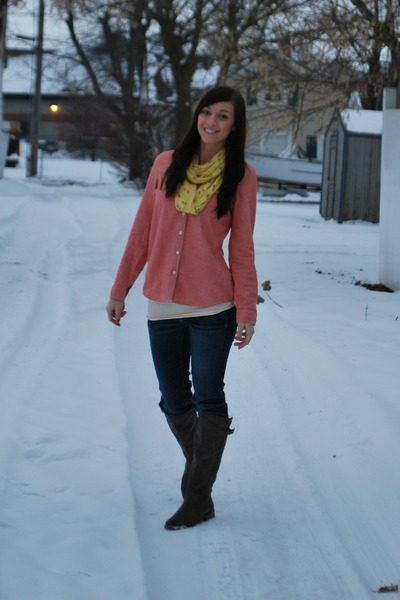 bare traps boots - Old Navy shirt - Old Navy scarf